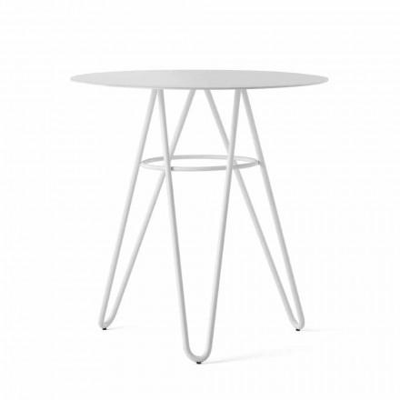 Table basse d'extérieur précieuse en HPL et métal blanc fabriquée en Italie - Dublin