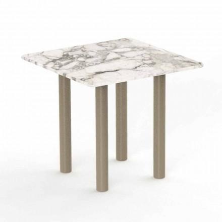 Table basse d'extérieur carrée en aluminium et grès - Panama - Talenti