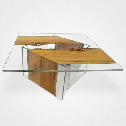 Table basse carrée en bois de Briccola et verre Laguna Continuo