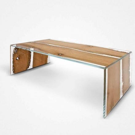 Table basse rectangulaire en verre et bois de Briccola Giudecca