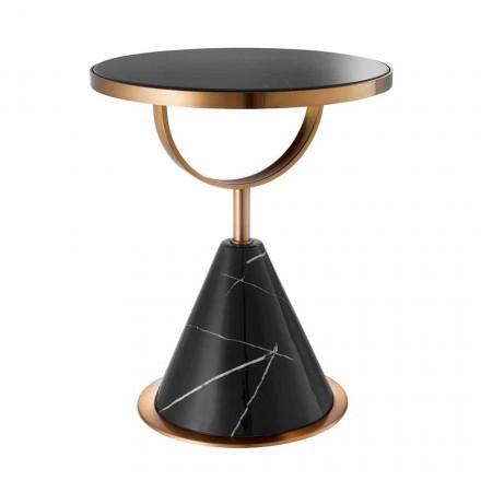 Table basse ronde en acier au fini cuivre et pierre moderne - Aprilia