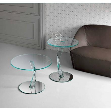 Table basse design ronde en verre extra-clair fabriquée en Italie - Akka