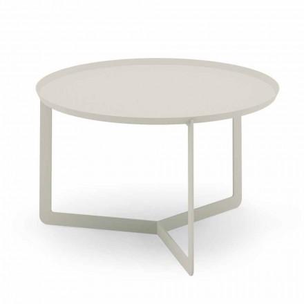 Table basse d'extérieur ronde en chanvre ou métal boue - Stéphane