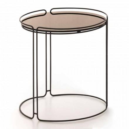 Table basse ronde en métal avec plateau en verre Made in Italy - George