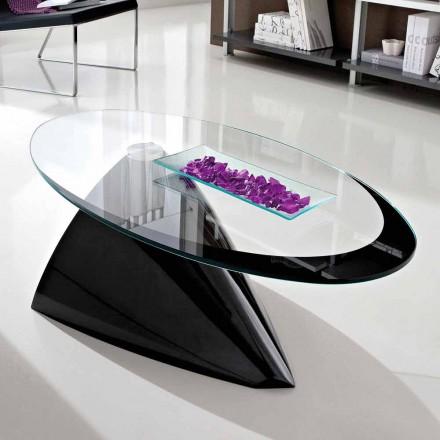 Table basse avec plateau en verre avec sérigraphie Made in Italy - Campari