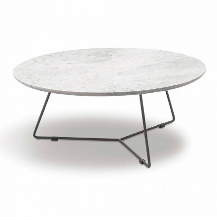 Table basse avec plateau en marbre rond et base en métal Made in Italy - Gin