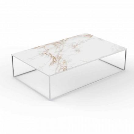 Table basse d'extérieur moderne en aluminium et plateau effet marbre - Suave par Vondom