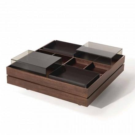 Table basse en bois avec détails en verre et cuir Made in Italy - Ermano