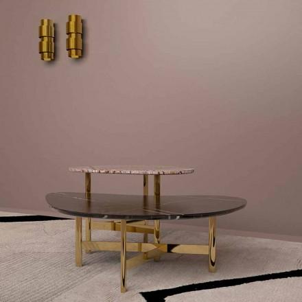 Table basse de luxe en marbre noir ou marron forêt Made in Italy - Manolo