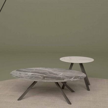 Table basse en marbre Orobico ou Calacatta et métal Made in Italy - Sirena