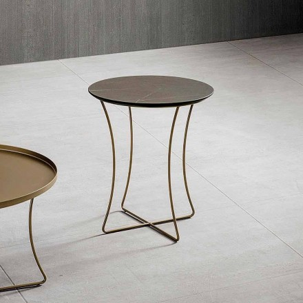 Table basse en métal peint avec plateau en Hpl Made in Italy - Numbo