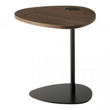 Table basse de salon en métal et plateau en bois, design de luxe - Yassine