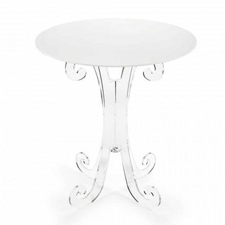 Table basse ronde en plexiglas transparent et blanc ou avec bois - Stilio