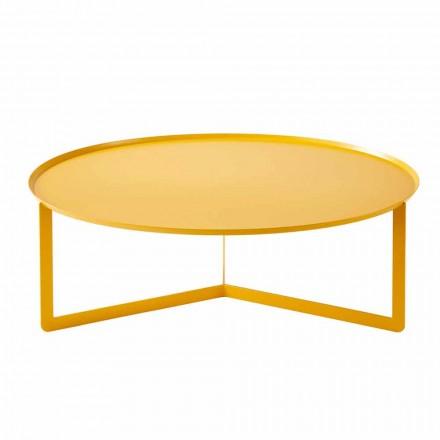 Table basse d'extérieur ronde moderne en métal fabriquée en Italie - Stephane