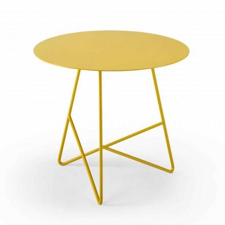 Table basse de jardin ronde en métal de différentes couleurs et 3 tailles - Magali