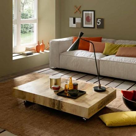 Table basse design transformable en bois et métal noir Made in Italy - Niverio