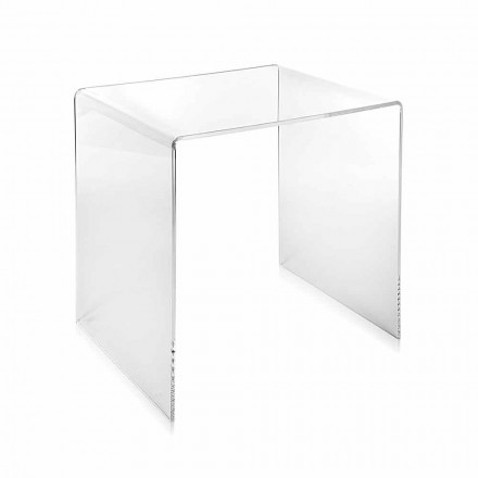 Table basse transparente moderne 40x40cm Terry Small, faite en Italie