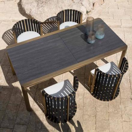 Table à manger extensible 340 cm en aluminium et verre ou Laminam - Julie