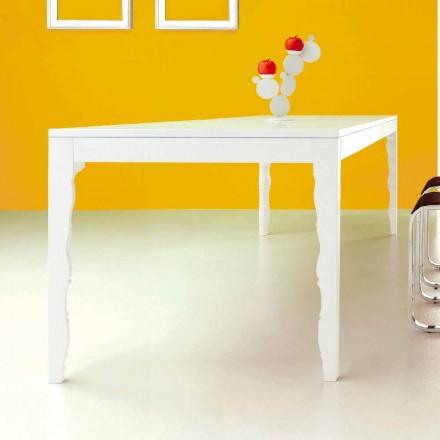 Table extensible en bois laqué blanc jusqu'à 2,5 m avec pieds tournés - Concept