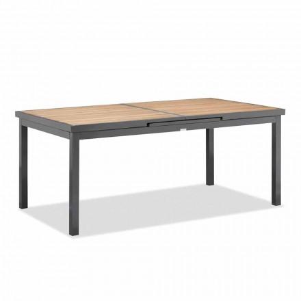 Table extensible jusqu'à 240 cm de l'extérieur en aluminium et plateau en teck - Venera