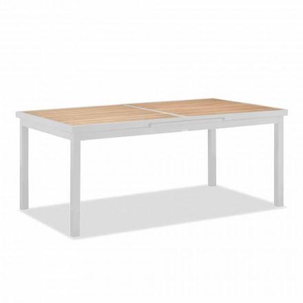 Table d'extérieur extensible en aluminium et plateau en teck - Bilel