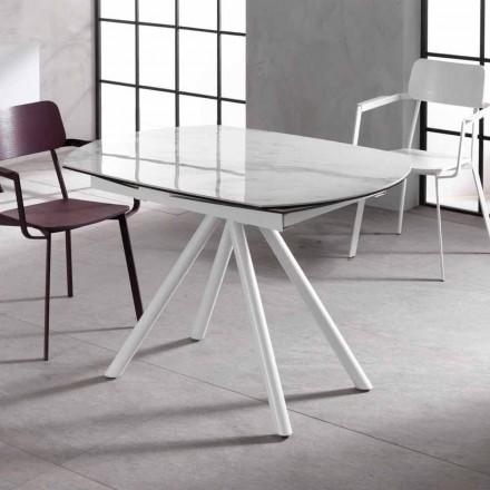 Table extensible avec plan en céramique et pieds en métal Lozzolo