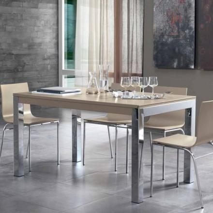 Table extensible avec plateau en bois de noyer Tanganika et pieds en métal - Ketla