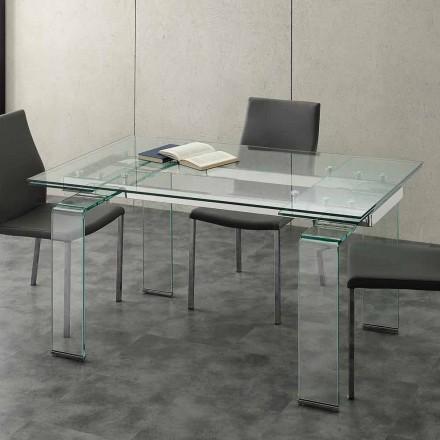 Table extensible avec plateau en verre trempé Lord