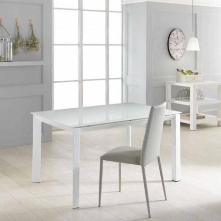 Table à rallonge Vinicio avec plateau en verre trempé, design moderne