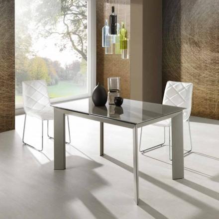 table de salle manger extensible avec plateau en verre tremp zeno. Black Bedroom Furniture Sets. Home Design Ideas
