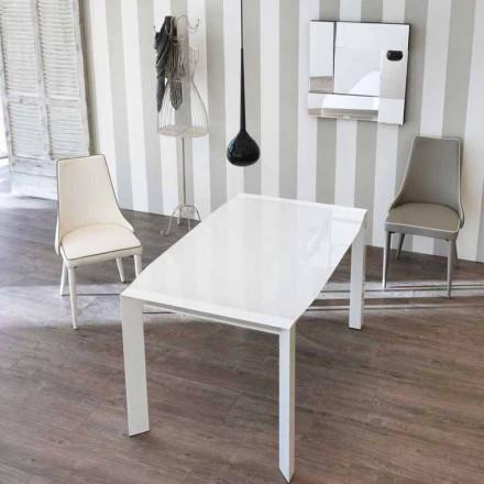 Table extensible Zeno avec plateau en verre, de design moderne