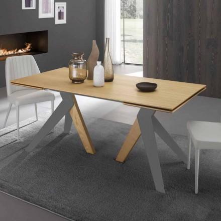 Table à manger extensible avec plateau en bois de chêne Daryl, fabriqué en Italie
