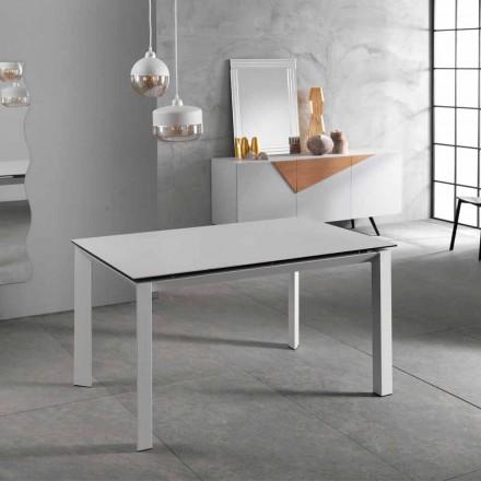 Table extensible moderne jusqu'à 220 cm en céramique blanche, plan Nosate