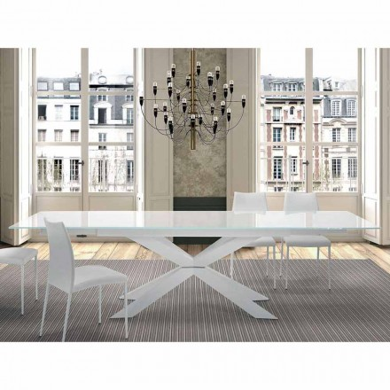 Table Extensible jusqu'à 300 cm en Verre et Acier Made in Italy – Grotta
