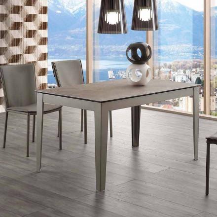Table extensible jusqu'à 380 cm Cagliari, métal et verre/céramique