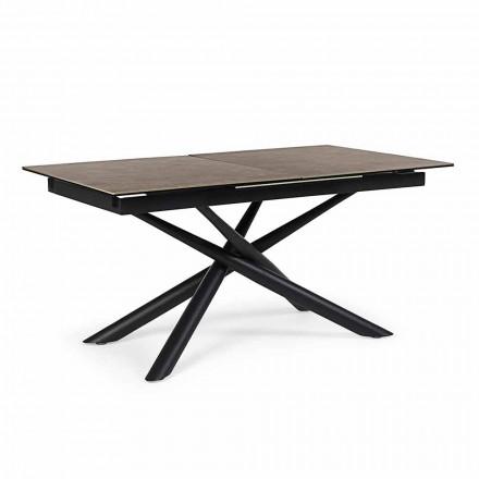 Table extensible jusqu'à 220 cm en céramique et acier Homemotion - Brianza