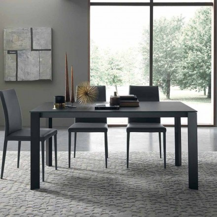 Table extensible jusqu'à 250 cm avec plateau en verre Made in Italy - Pitagora