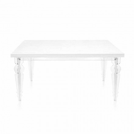 Table extensible jusqu'à 255 cm en plexiglas transparent et bois blanc - Fabo