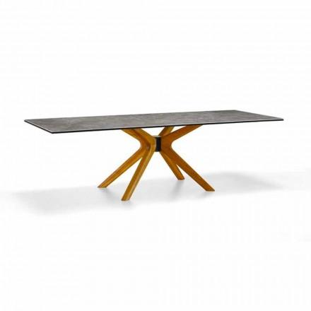 Table extensible jusqu'à 260 cm en grès et bois, luxe Made in Italy - Malita