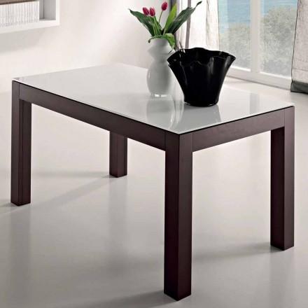 Table extensible jusqu'à 270 cm en verre et bois de frêne Made in Italy - Homer