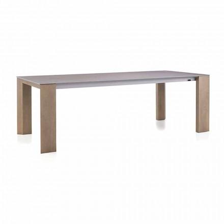 Table extensible jusqu'à 300 cm en céramique et pieds en bois - Ipanemo