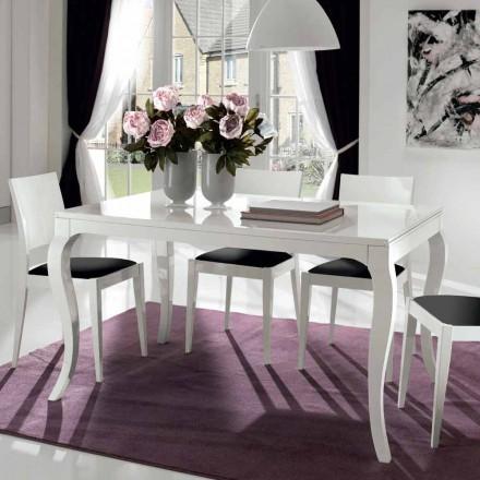 Table extensible jusqu'à 350 cm en noyer Tanganika blanc brillant - Leomas