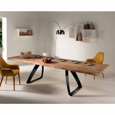 Table à manger extensible Travis,en bois plaqué de chêne et métal noir