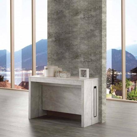 Table console extensible 8/10 places, bois finition marbrée, Ussana