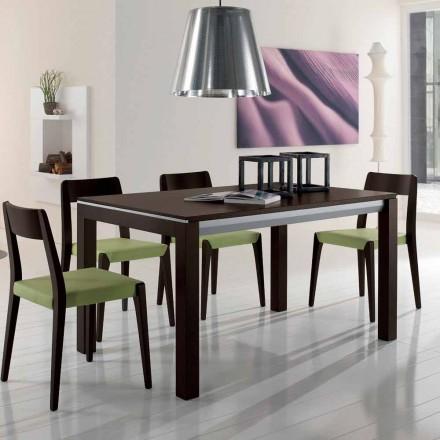 Table extensible en frêne avec bandes latérales peintes en gris - Ketla