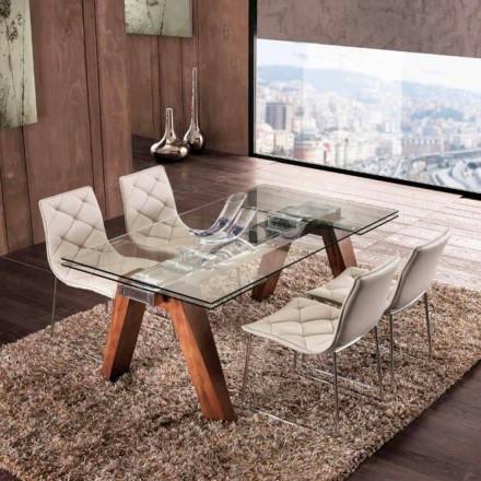 Table extensible de salle à manger en bois massif et verre trempé Chad