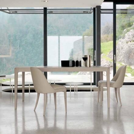 Table extensible en bois de noyer gris naturel design moderne, Matis