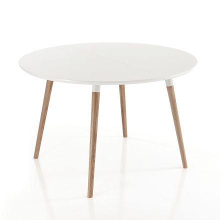 Table de salle à manger extensible en bois, plateau blanc Ian