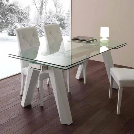 Table extensible Florida de design, en acier inox et métal blanc