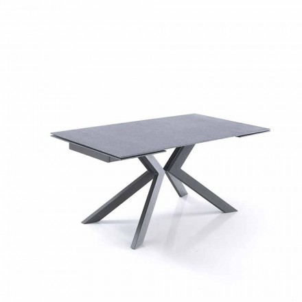 Table à Rallonges faite en Verre et Métal Design - Piersilvio